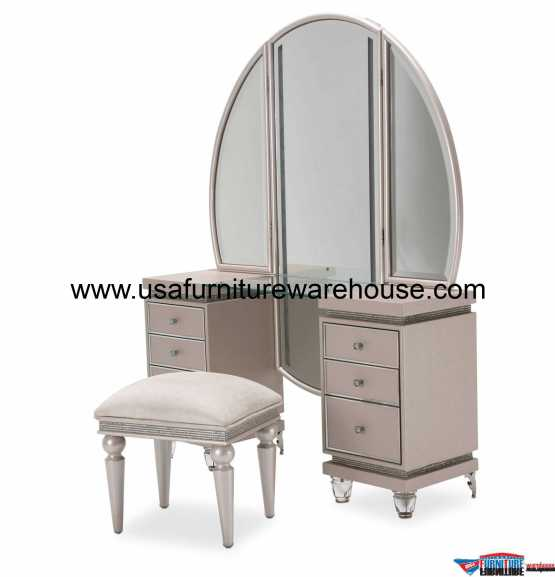 3 Piece AICO Glimmering Heights Vanity