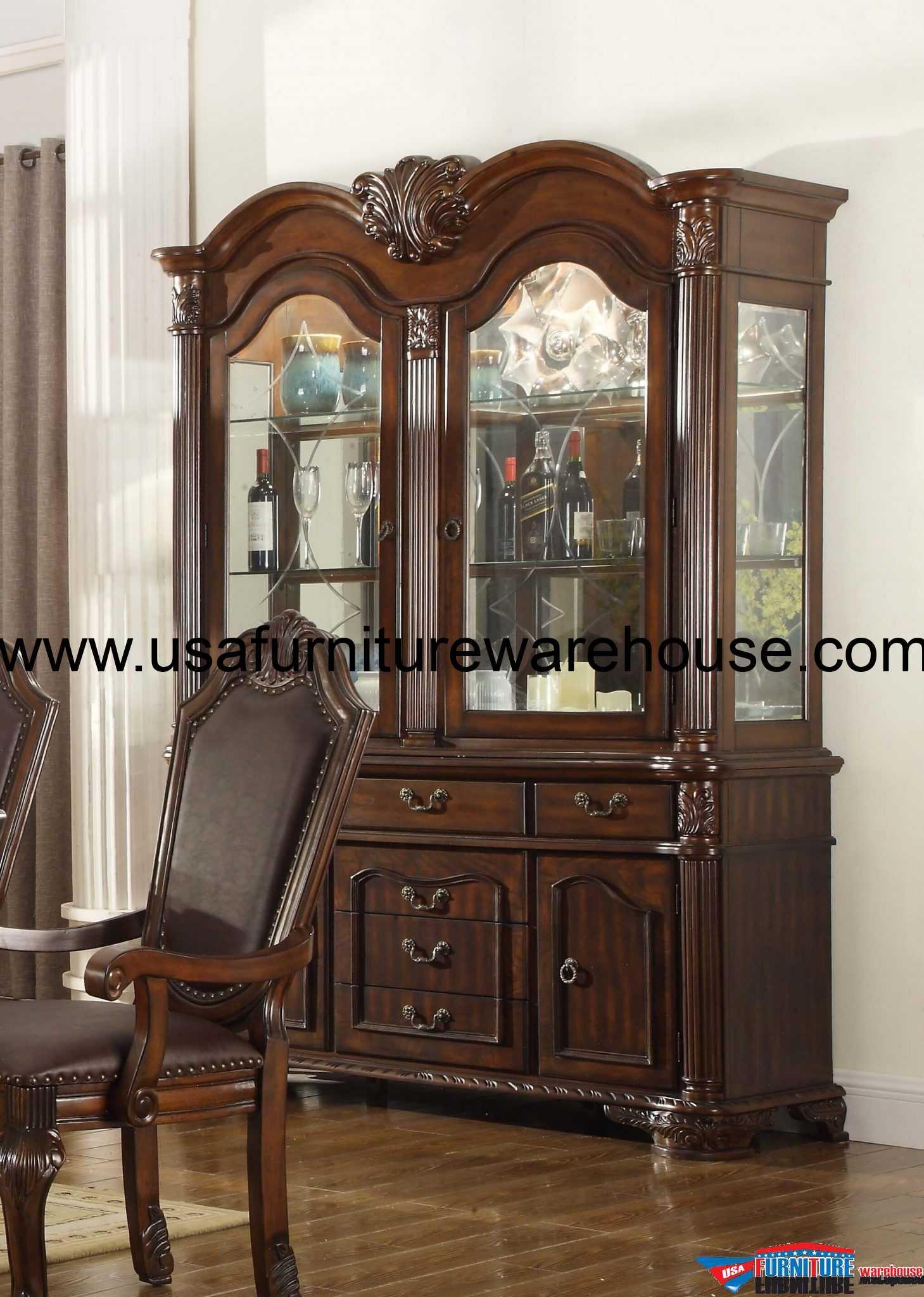 . Mcferran Furniture D5004 Chateau China Hutch Set