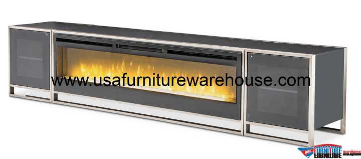 Aico Metro Lights TV Console/Fireplace Electric Insert and Cabinets