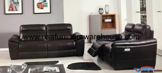 Forma Full Italian Dark Brown Leather Power Recliner Sofa Set