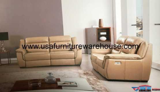 Lago Full Italian Tan Leather Power Recliner Sofa Set