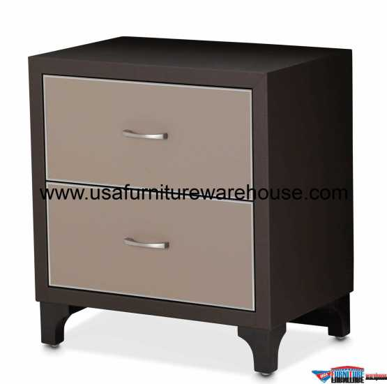 21 Cosmopolitan Taupe 2 Drawer Nightstand
