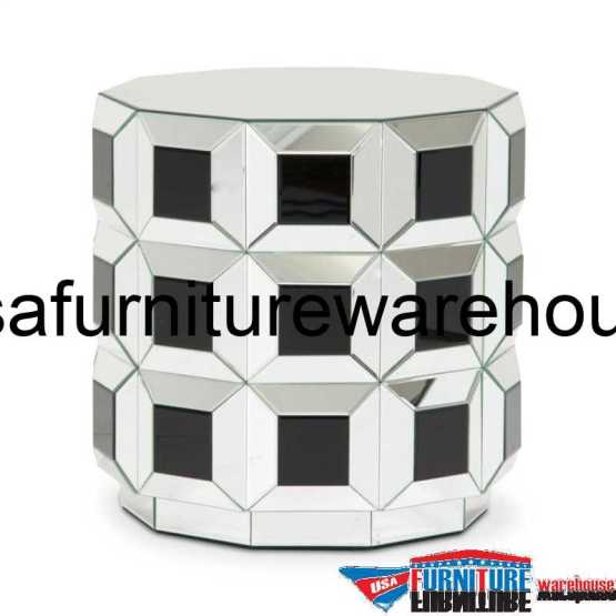 Aico Montreal Round Silver Prism Mirrored End Table