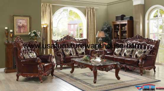 Eustoma Wood Trim Top Grain Leather Sofa Set Usa Furniture Warehouse