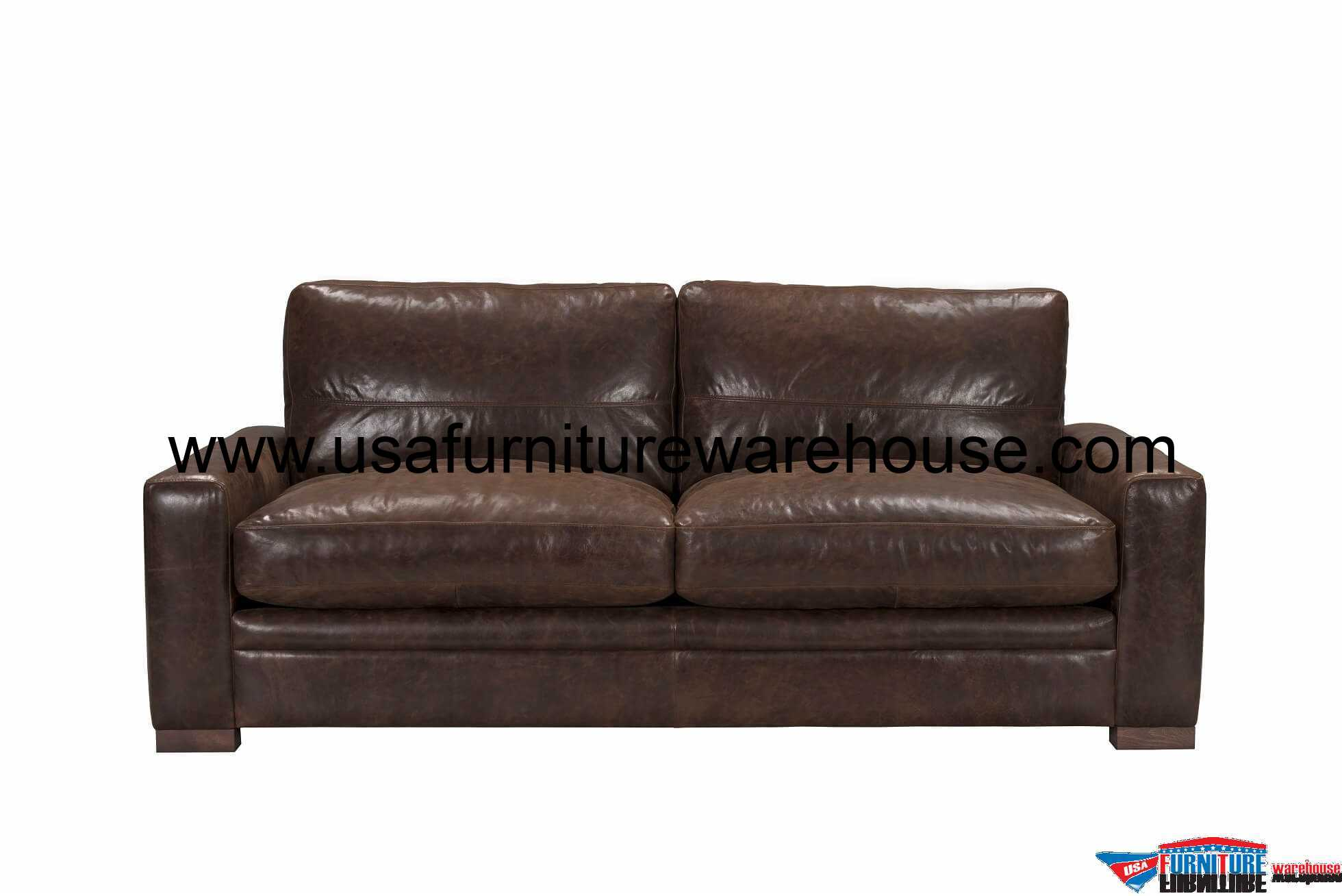 Bon Modena Vintage Espresso Top Grain Italian Leather Sofa