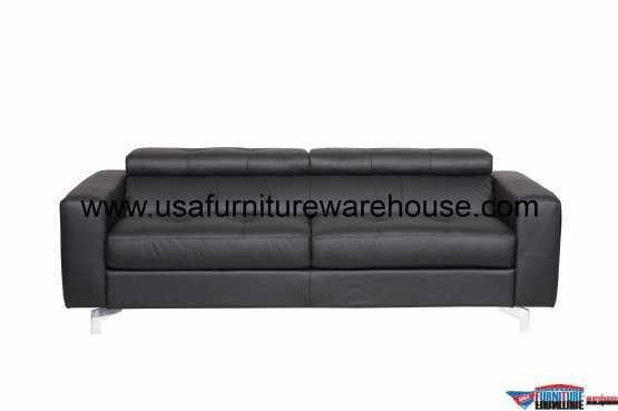 Tevere Black Top Grain Italian Leather Sleeper Sofa Usa Furniture