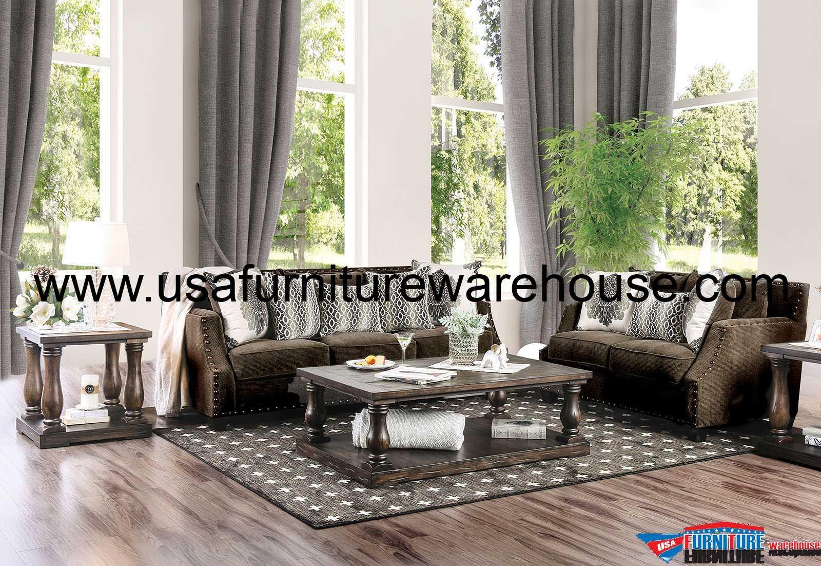 Cornelia Dark Brown Fabric Sofa SM3073-SF