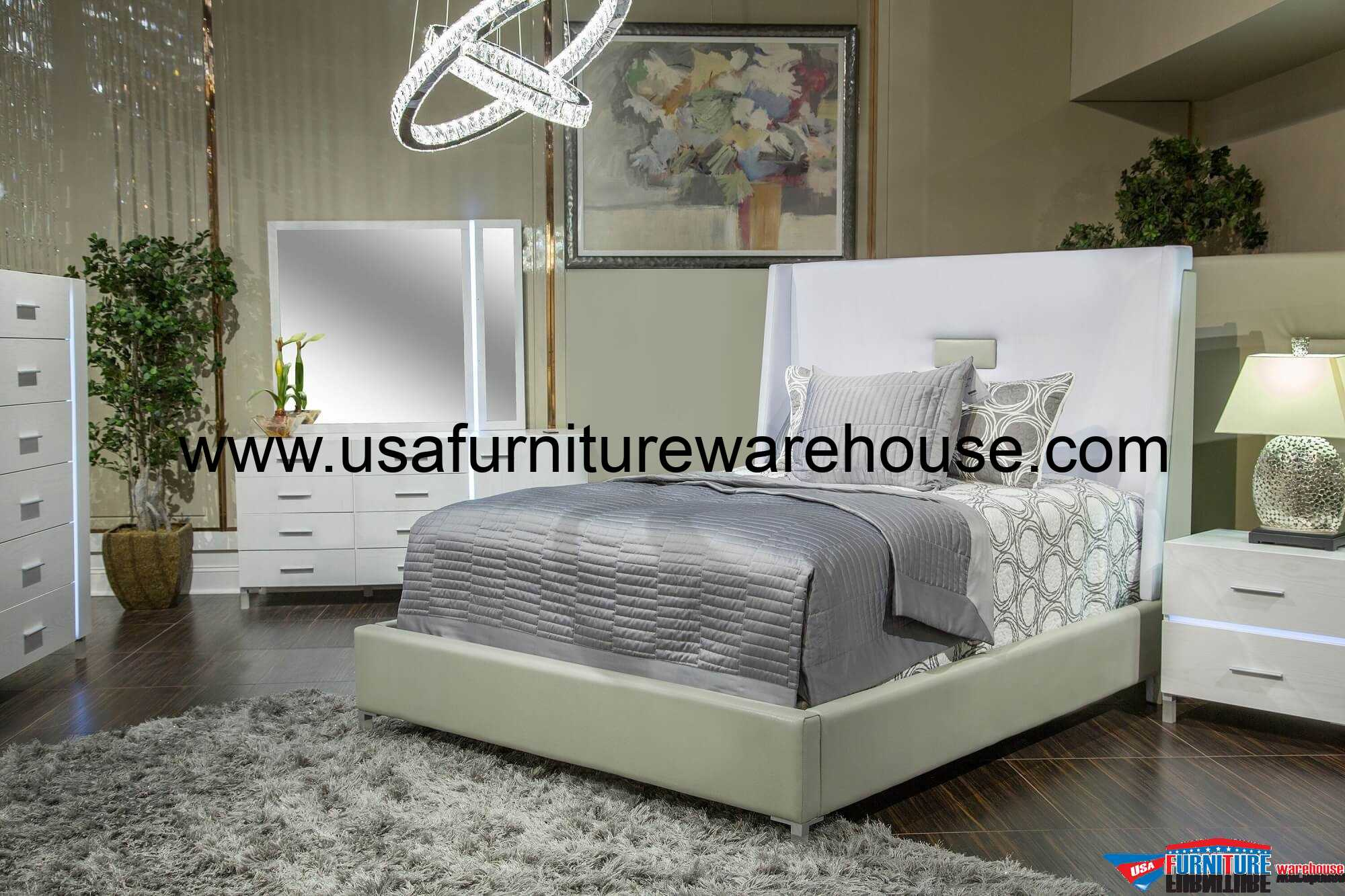 4 Piece Lumiere Modern Platform Bedroom Set - USA Furniture Warehouse