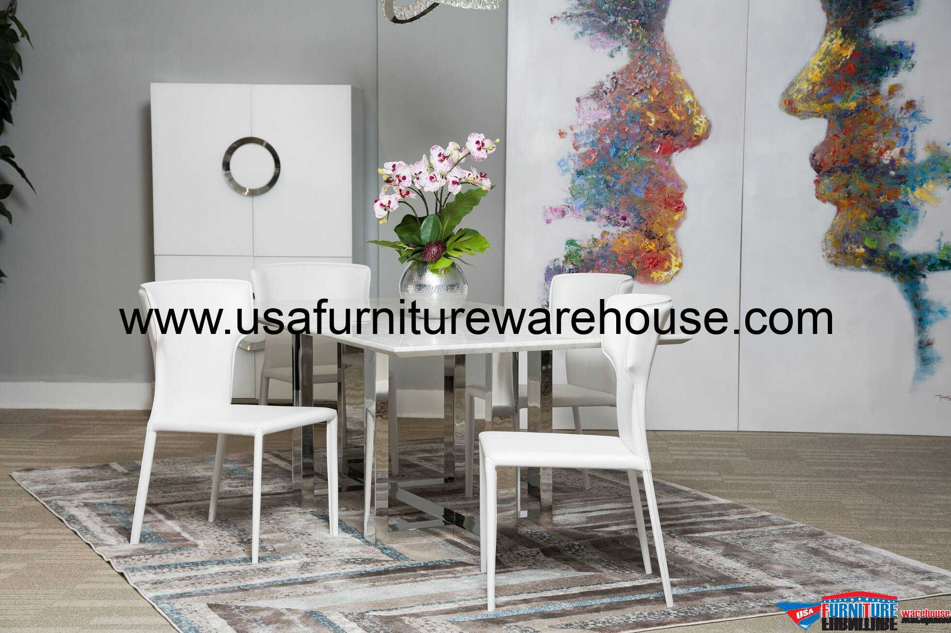Halo Rectangular Marble Top Dining Room Set