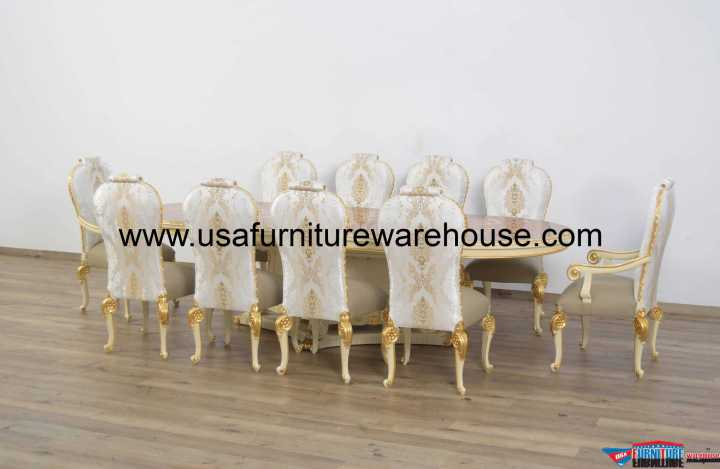 11 Pc Bellagio Dining Room Set Beige & Gold Leaf