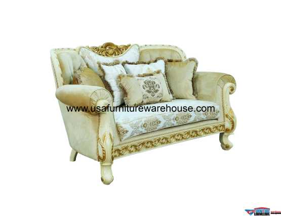 Fantasia Loveseat Gold Fabric