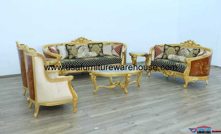 Luxor Black Gold Sofa Set