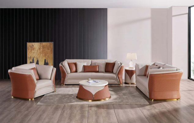 3 Pieces European Vogue Sofa Set Italian Leather