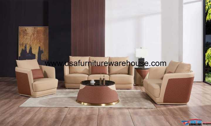 3 Pieces European Glamour Sofa Set Italian Leather