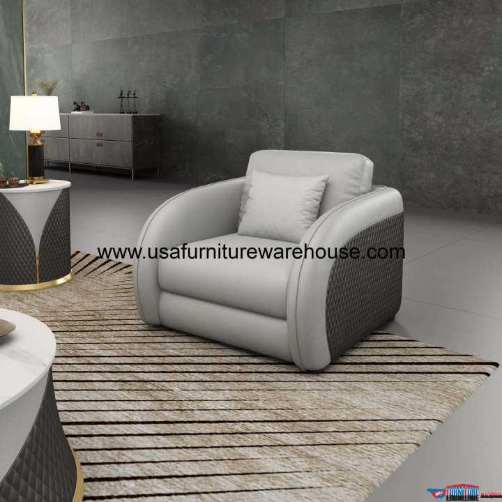 Noir Modern Chair Gray Italian Leather