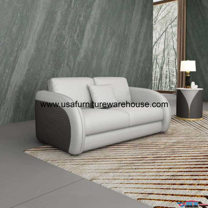 Noir Modern Loveseat Gray Leather