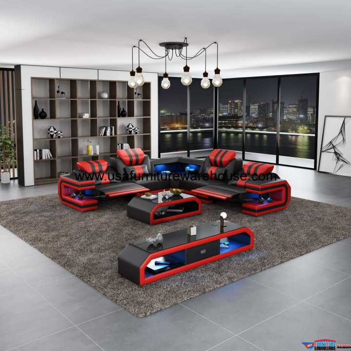 Lightsaber LED Dual Recliners Sectional Black & Red Italian Leather
