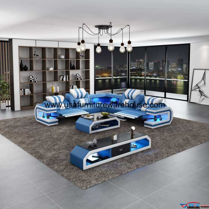 Lightsaber LED Dual Recliners Sectional Blue & White Italian Leather