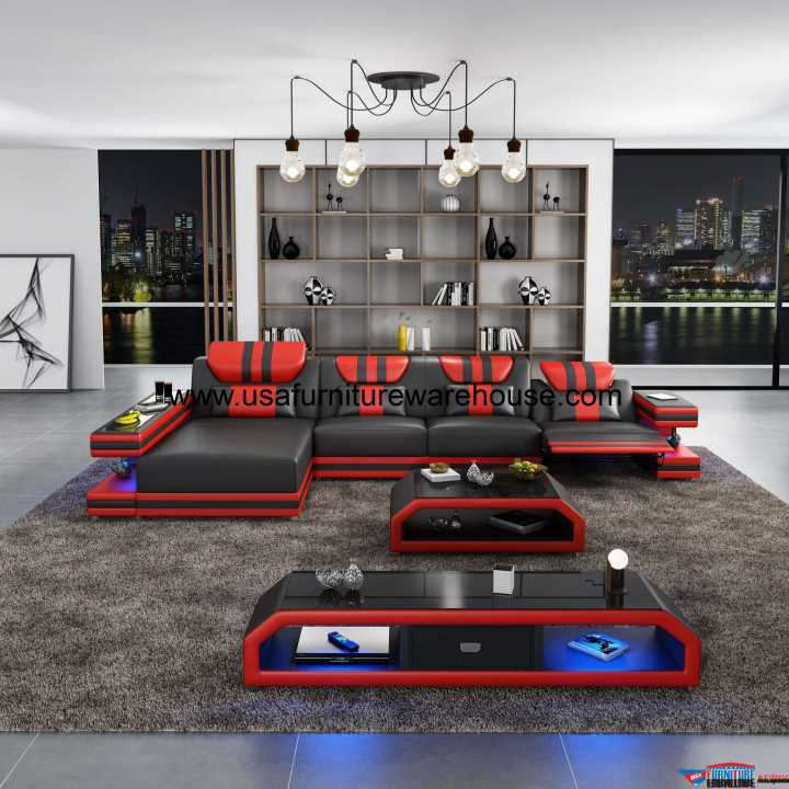 Lightspeed LED Contemporary Sectional With Recliner Black Italian Leather
