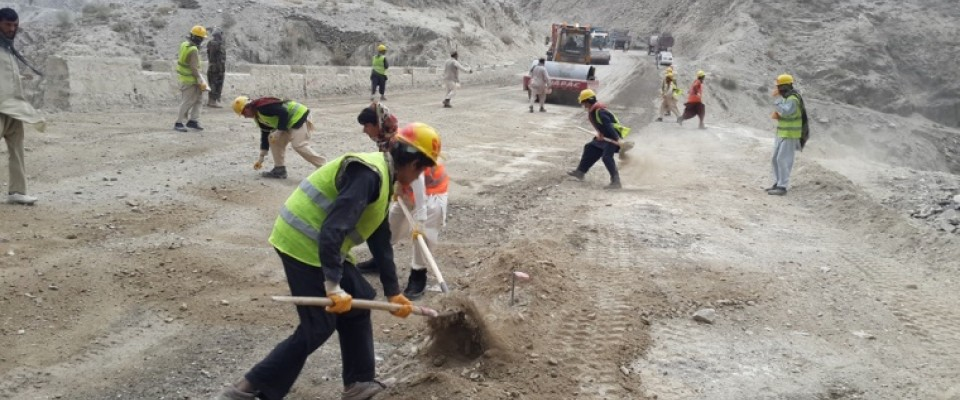 People working on the Gardez-Khost highway which is financially supported by USAID.
