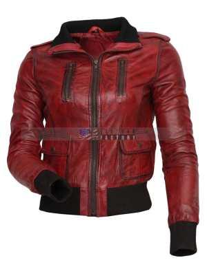 Designer Waxed Women Motorbike Leather Jacket Sale Free Shipping