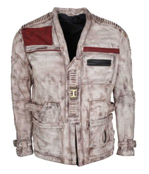 Star Wars White Waxed Finn Leather Jacket