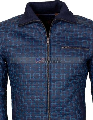 Blue Casual Leather Jacket