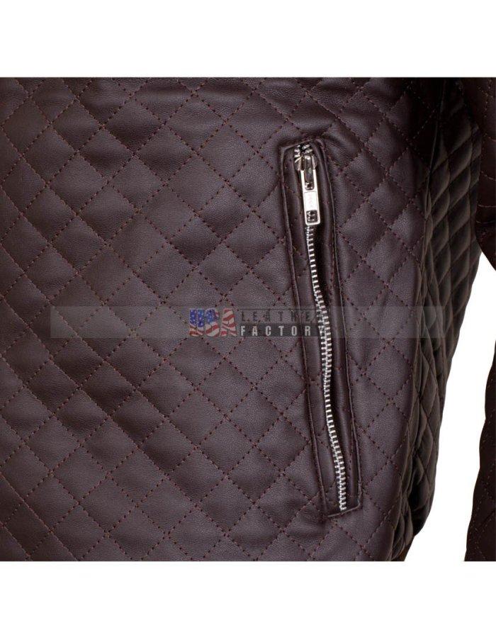 Brown Slim fit leather Jacket