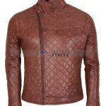 Mens Brown Biker Soft Casual Leather Jacket Sale