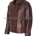 Antique Brown Mens Vintage Racer Leather Jacket Sale Free Shipping UK Spain