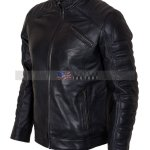 Designers Mens Padded Black Motorcycle Leather Jacket Sale Free Shipping online