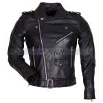 Mens Black Genuine Leather Motorcycle Jacket Sale