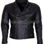 Mens Real Cowhide Black Motorcycle Leather Jacket Sale
