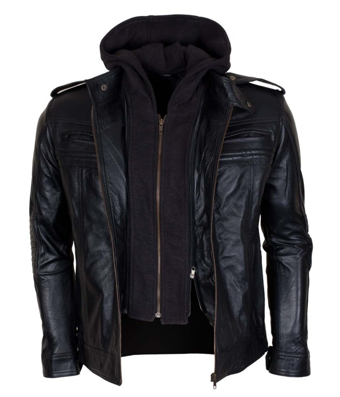 TNA AJ Style Hooded Leather Jacket