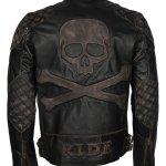 Mens Skull Embossed Vintage Bikers Motorcycle Leather Jacket