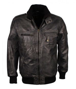 Grey Waxed Leather Jacket