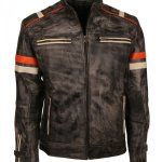 Mens Retro Vintage Grey Distressed Biker Jacket