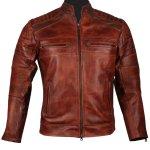 Mens Vintage Cafe Racer Biker Genuine Leather Jacket