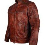 Mens Vintage Cafe Racer Biker Genuine Leather Jackets