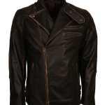 Mens Vintage Skull Black Motorcycle Leather Jacket Sale