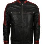 Red and Black Cafe Racer Leather jacket