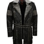 Mens Fallout Distressed Grey Leather Coat