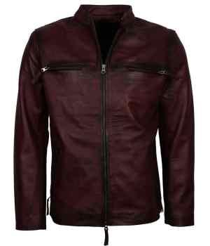 Retro Maroon Biker jacket