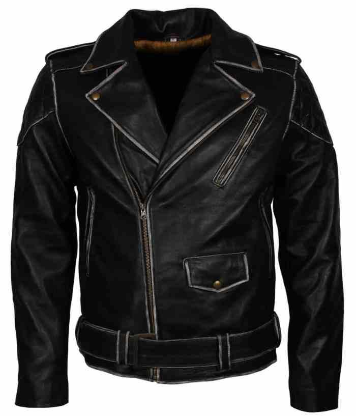 Black Mens Distressed Biker Leather Jacket