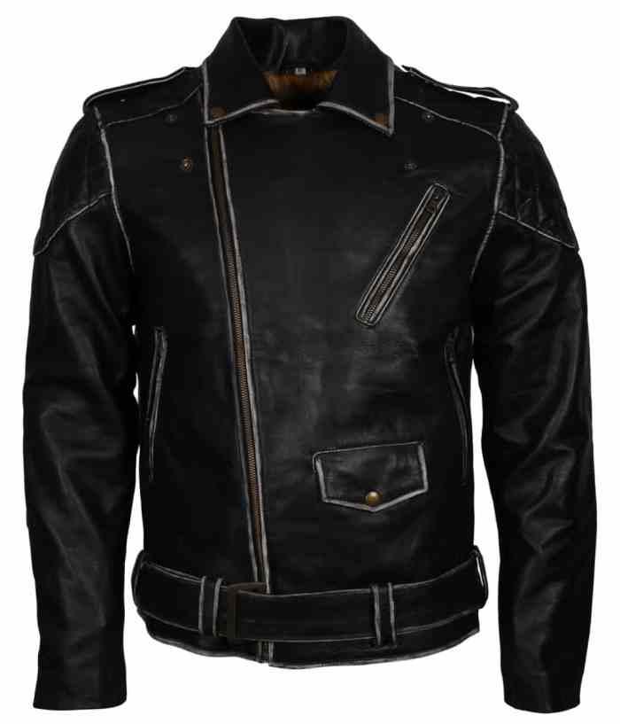 Distressed Black Motorcycle Leather Jacket Sale