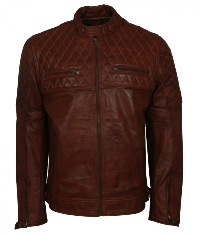 Diamond Quilted Brown Leather Jacket