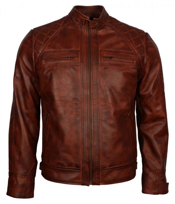 Mens Crocodile Brown Biker Leather Jacket