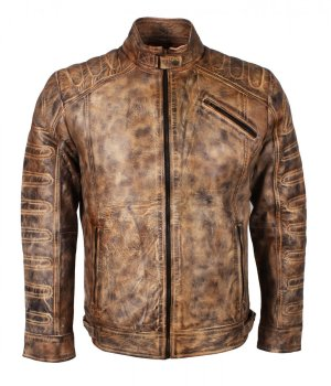 Padded Vintage Brown Waxed Leather Jacket