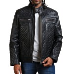 Classic Men Black Quilted Motorcycle Leather Jacket USA