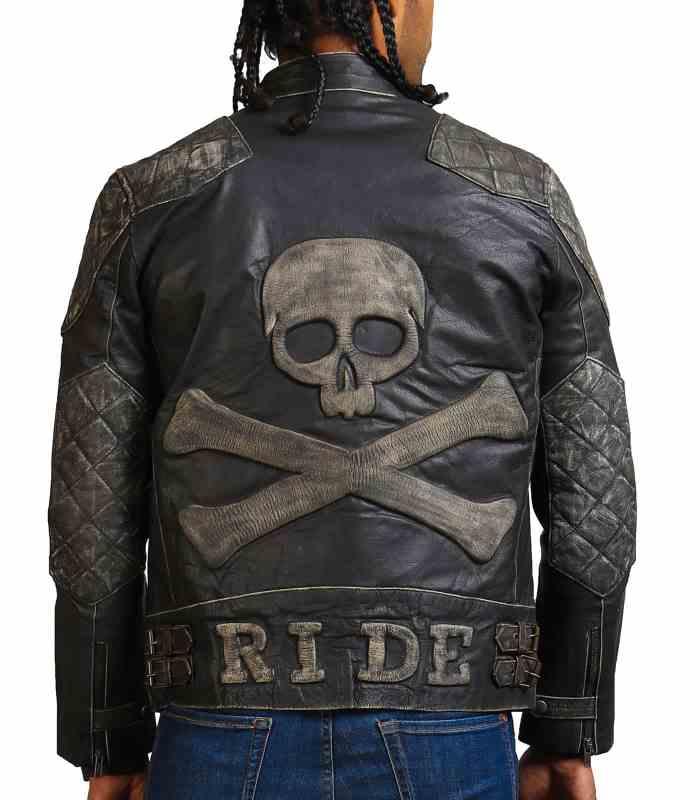 New Skull Men Distressed Black Motorcycle Leather Jacket